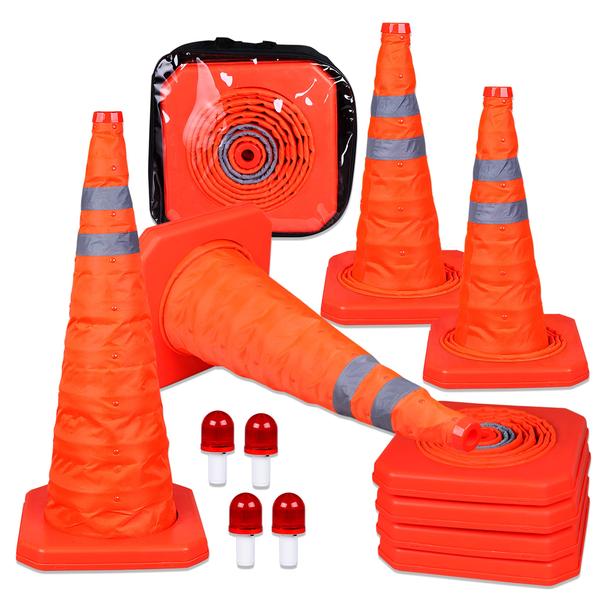 CARTMAN 27.5 inch Collapsible Traffic Cones with LED Light Multi Purpose Pop up Reflective Safety Cone 4PK by CARTMAN