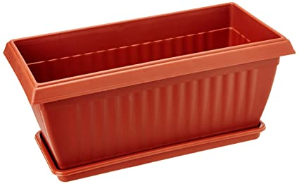 Easy Gardening Royal 3 Rectangle Planters And Trays   Plastic Pots (Pack Of  Three)