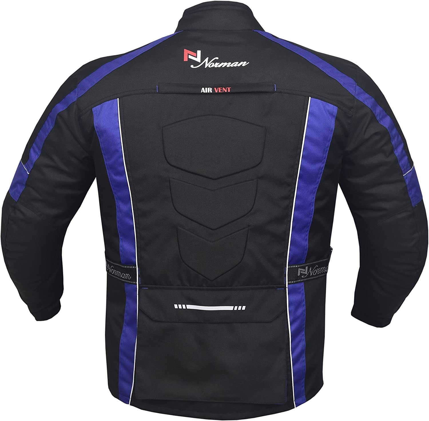 NORMAN Blue//Black Mens Motorcycle Motorbike Jacket Waterproof Textile with CE Armours
