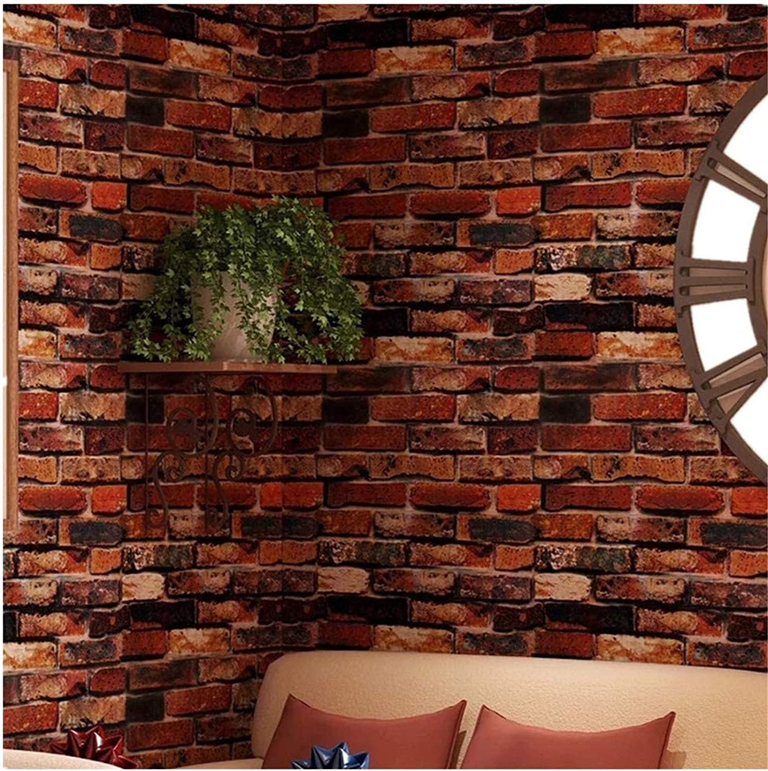 """Yancorp Self-Adhesive Wallpaper Rust Red Brown Brick Paper Fireplace Peel-Stick Wall Door Counter Top Liners (18""""x197, Rust Red Brick)"""