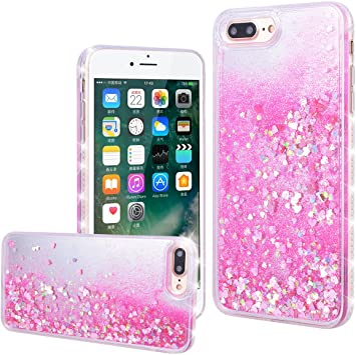 Funda iPhone 7 Plus, WE LOVE CASE Rígida Liquido Glitter Cáscara Protección Bumper Agua Dura Funda