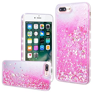 ef394c55053 WE LOVE CASE Funda iPhone 7 Plus/iPhone 8 Plus, Rígida Liquido Glitter  Cáscara Protección Bumper ...