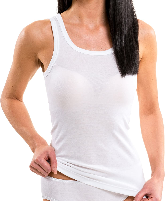 HERMKO 1325 Lot de 3 Longshirts 100/% Coton d/ébardeurs pour Femme pour Sens Dessus Dessous