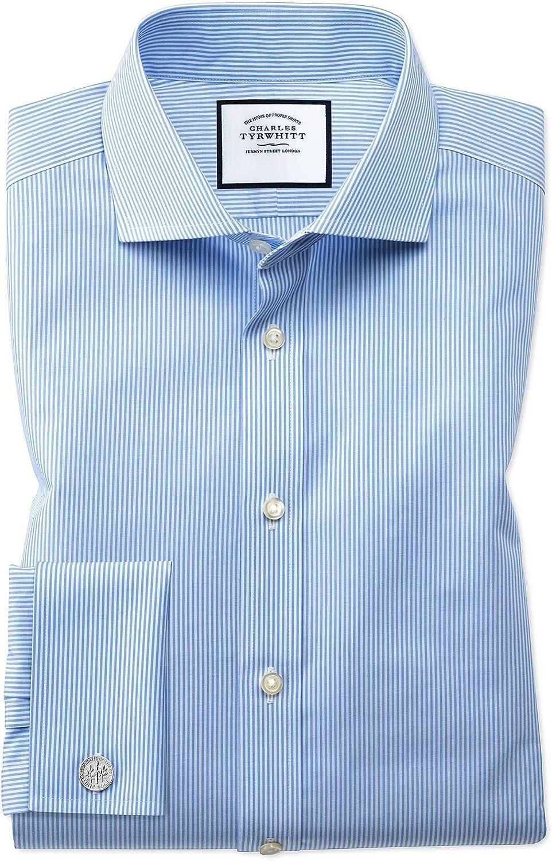 Charles Tyrwhitt Camisa Azul Celeste Extra Slim fit a Rayas ...
