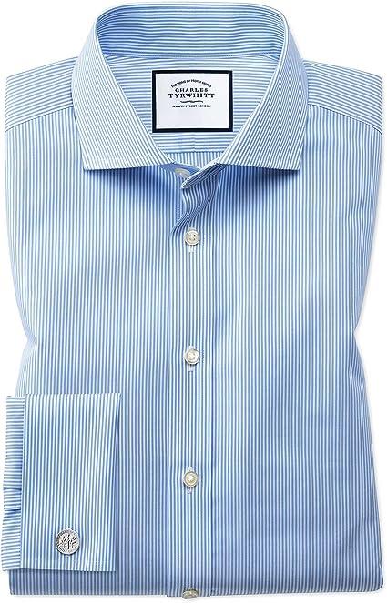 Charles Tyrwhitt Camisa Azul Celeste Extra Slim fit a Rayas de Bengala con Cuello Italiano: Amazon.es: Ropa y accesorios