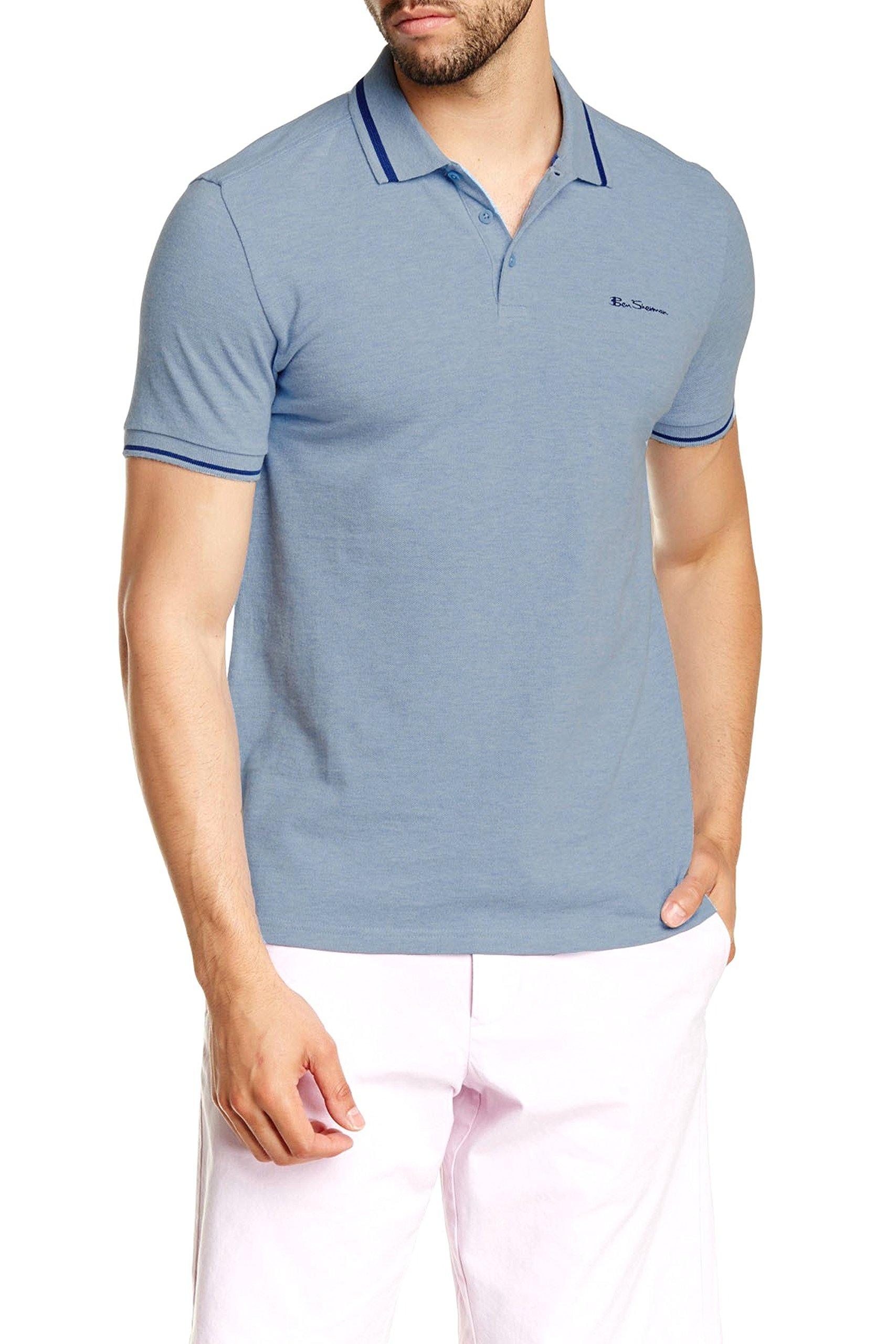 Ben Sherman Mens Contrast Tipped Pique Polo Shirt (Large, Sky Blue Marl)