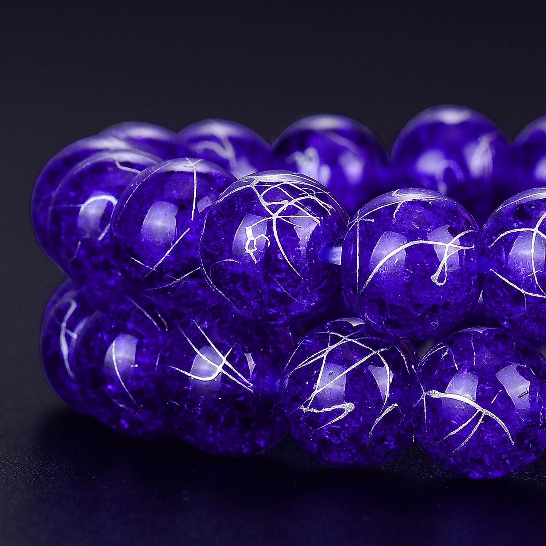 Rubyca Perles en verre press/é de R/épublique tch/èque avec effet craquel/é Pour fabrication de bijoux Sur fil pastel Cristal 4 mm