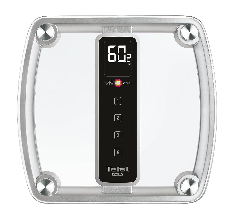4 Profils M/émorisables Verre Transparent Visio Control Concept : Suivi Evolution du Poids Tefal PP5150V1 P/èse-Personne Electronique Evolis