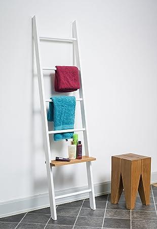 Kleiderleiter Porte-vêtements en hêtre laqué en forme déchelle Blanc: Amazon.es: Hogar