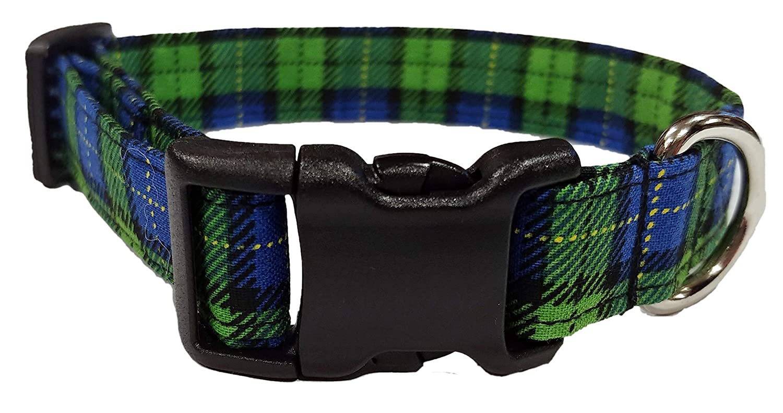 Blue and Green Plaid Dog Collar tartan Fabric Adjustable Buckle /& D Ring Scottish Kilt XL L M S XS Mini Puppy Small Extra Large