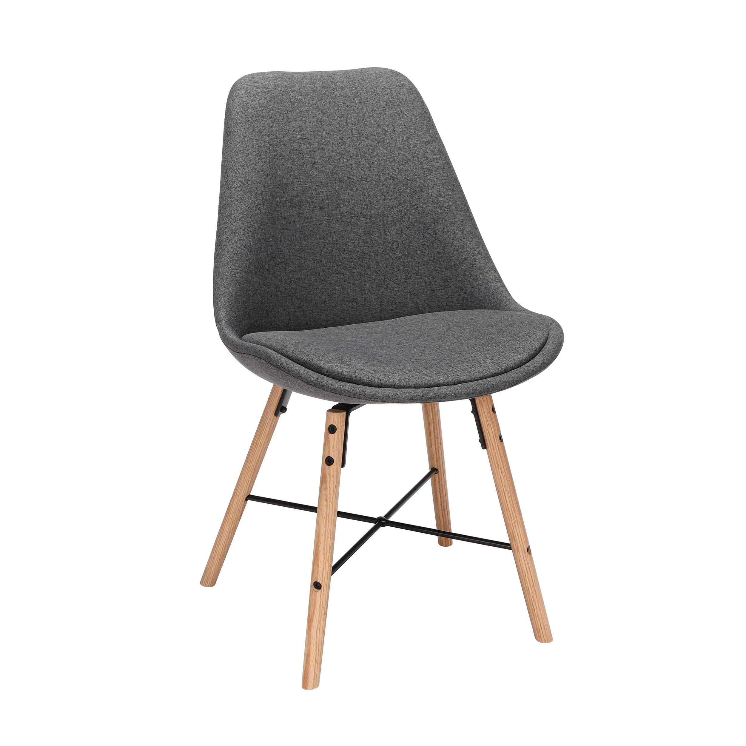 OFM 161 Collection Mid Century Modern 18'' Fabric Dining Chairs with Fabric Seat Cushion, Beechwood Legs with Wire Accent, 2 Pack, in Dark Gray (161-F18A-DGRY-2) by OFM