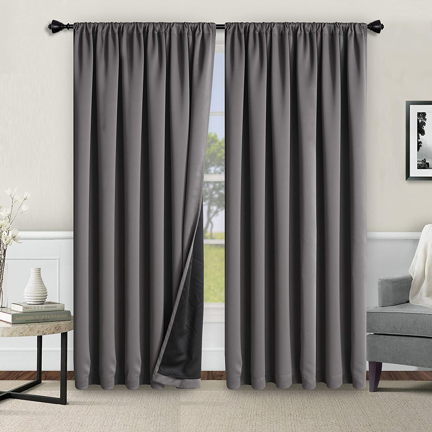 WONTEX 100% Grey Blackout Curtains for Bedroom 52 x 84 inches Long - Thermal Insulated, Noise Reducing, Sun Blocking Lined Rod Pocket Window Curtain Panels for Living Room, Set of 2 Winter Curtains