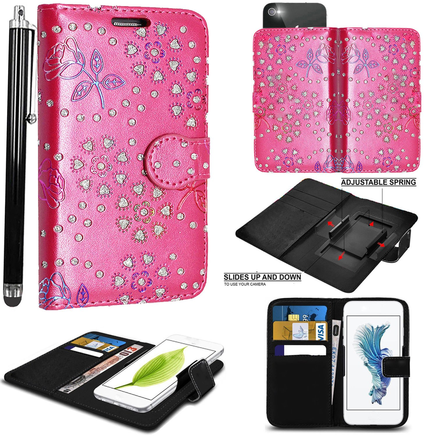 PRINTED DESIGN Mobile Stuff case for Argos Alba 5 Inch case cover pouch  Thin Faux Leather Hold it Spring Clamp Clip on Adjustable Book + Free  Stylus
