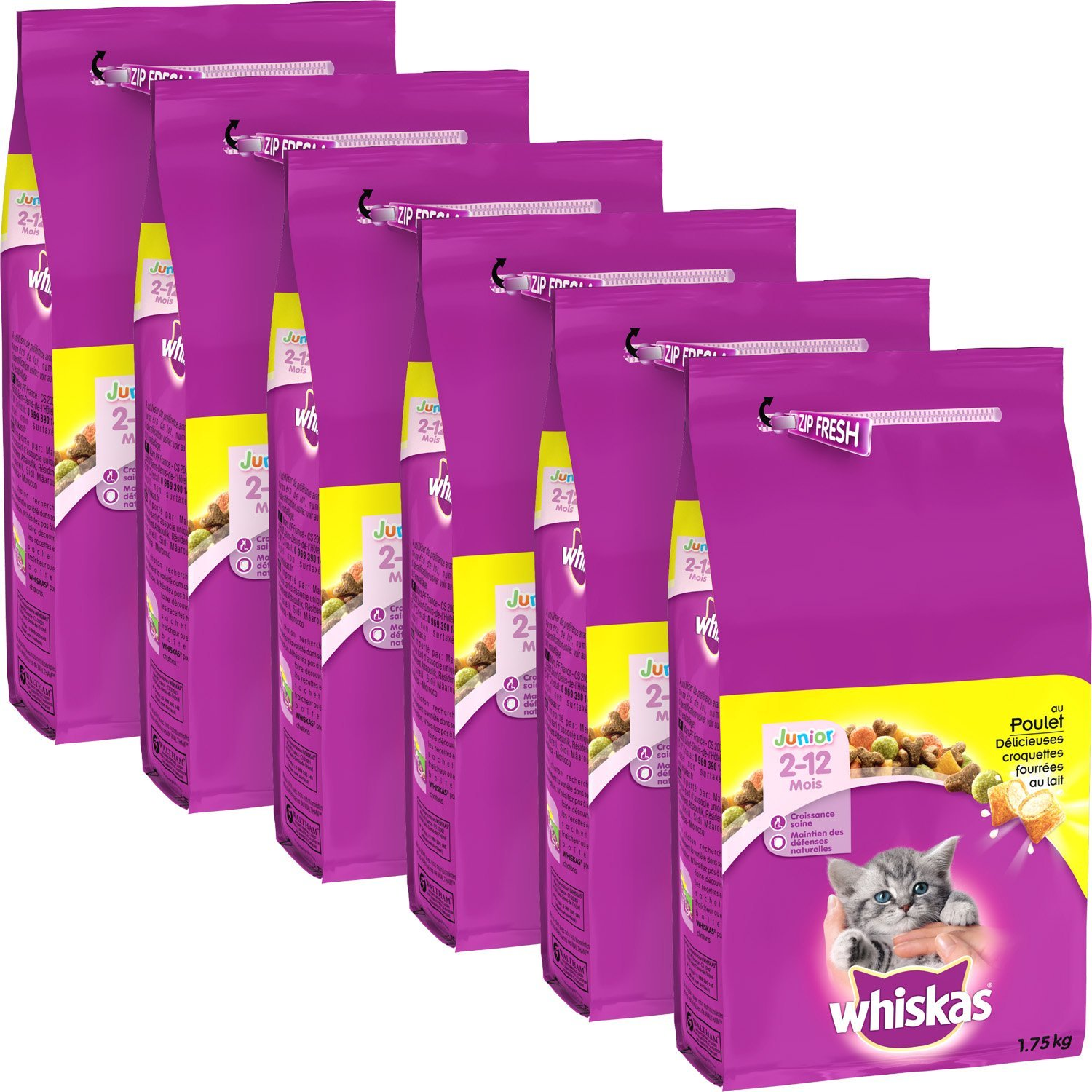 Whiskas Set de 6 Croquettes au Poulet pour Chat Junior 1, 75 kg 323028