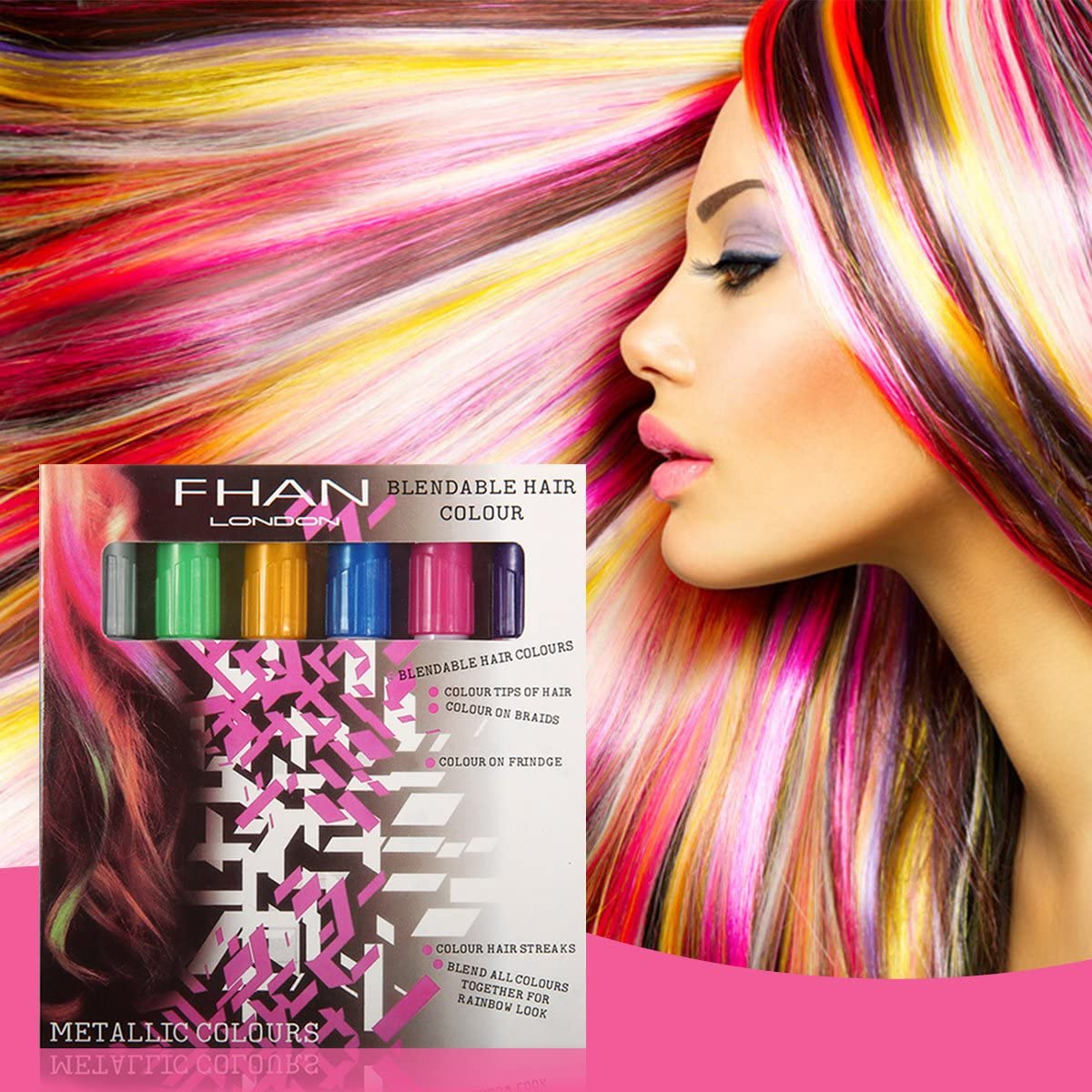 Tiza Coloración Cabello LuckyFine – Tinte DIY Hair Chalk ...
