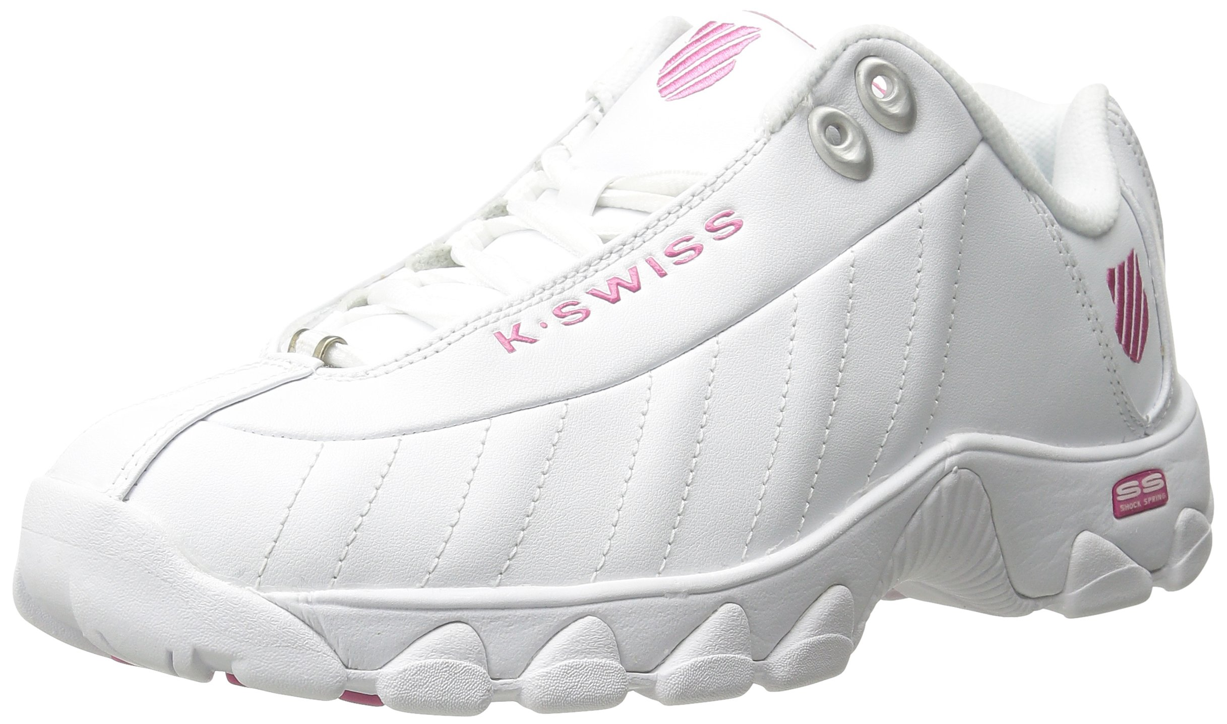 K-Swiss Women's ST329 CMF Trainer Lifestyle Sneaker, White/Shocking Pink, 8.5 M US