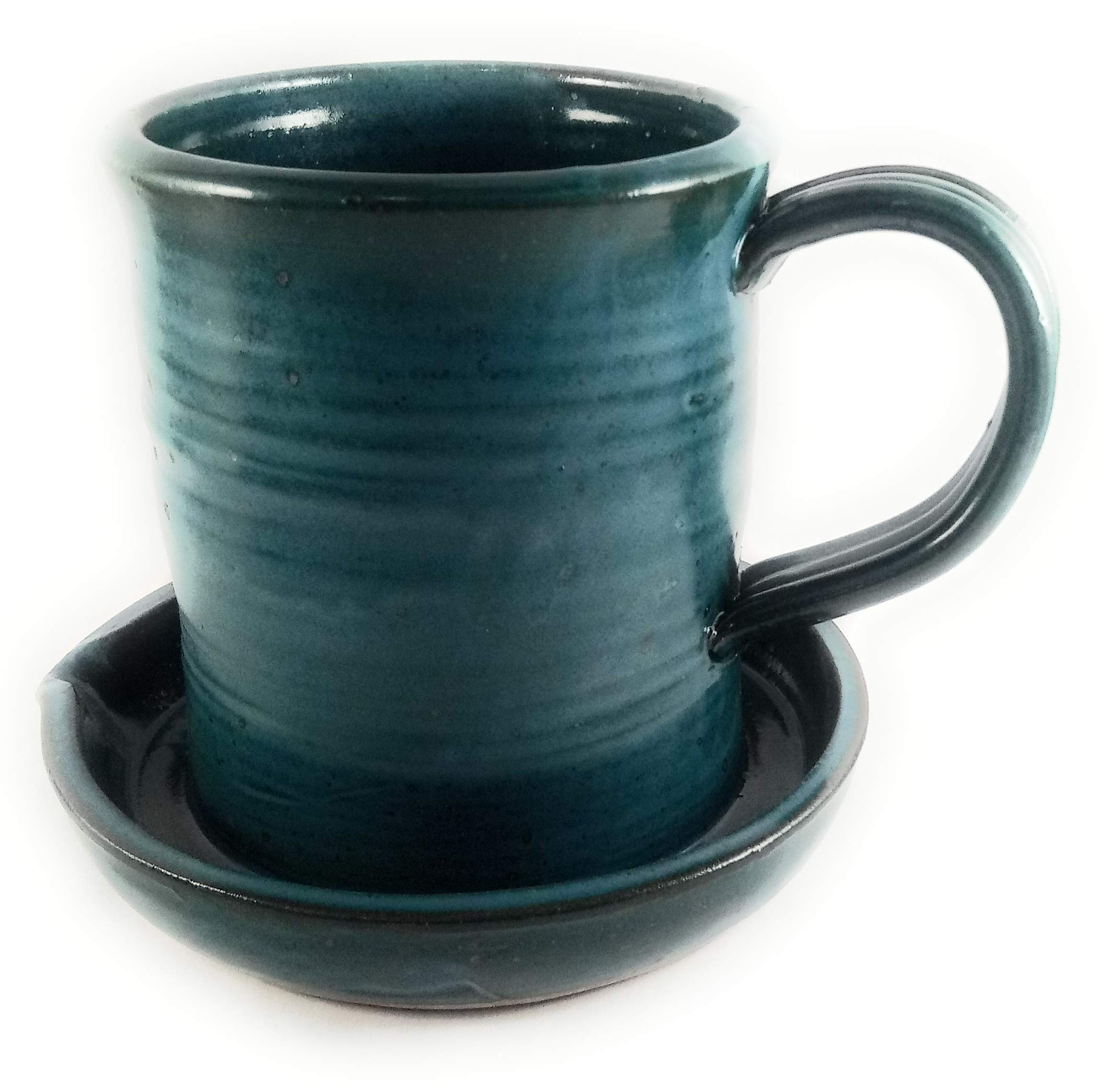 Teal Bacon Cooker, Heavy Hand Made Durable Pottery, Unique New Way of Cooking Bacon to Remove Fat, Microwave and Dishwasher Safe, Easy Clean Up - Great for Dorms, RV, Travel, Home, ect