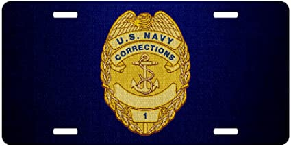 ExpressItBest Premium Aluminum License Plate   U.S. Navy Corrections, Officer  Badge