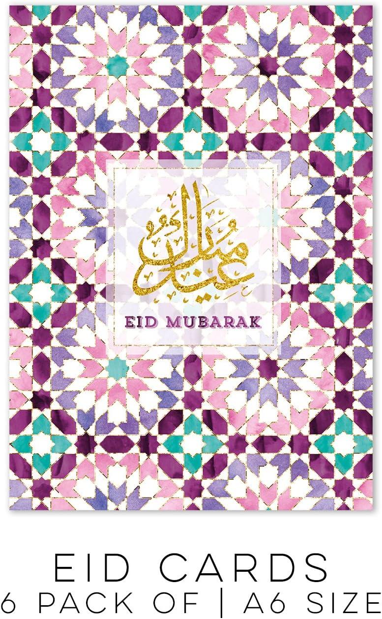 a6 Size Maroc Purple Eid Mubarak Cards Pack of 6