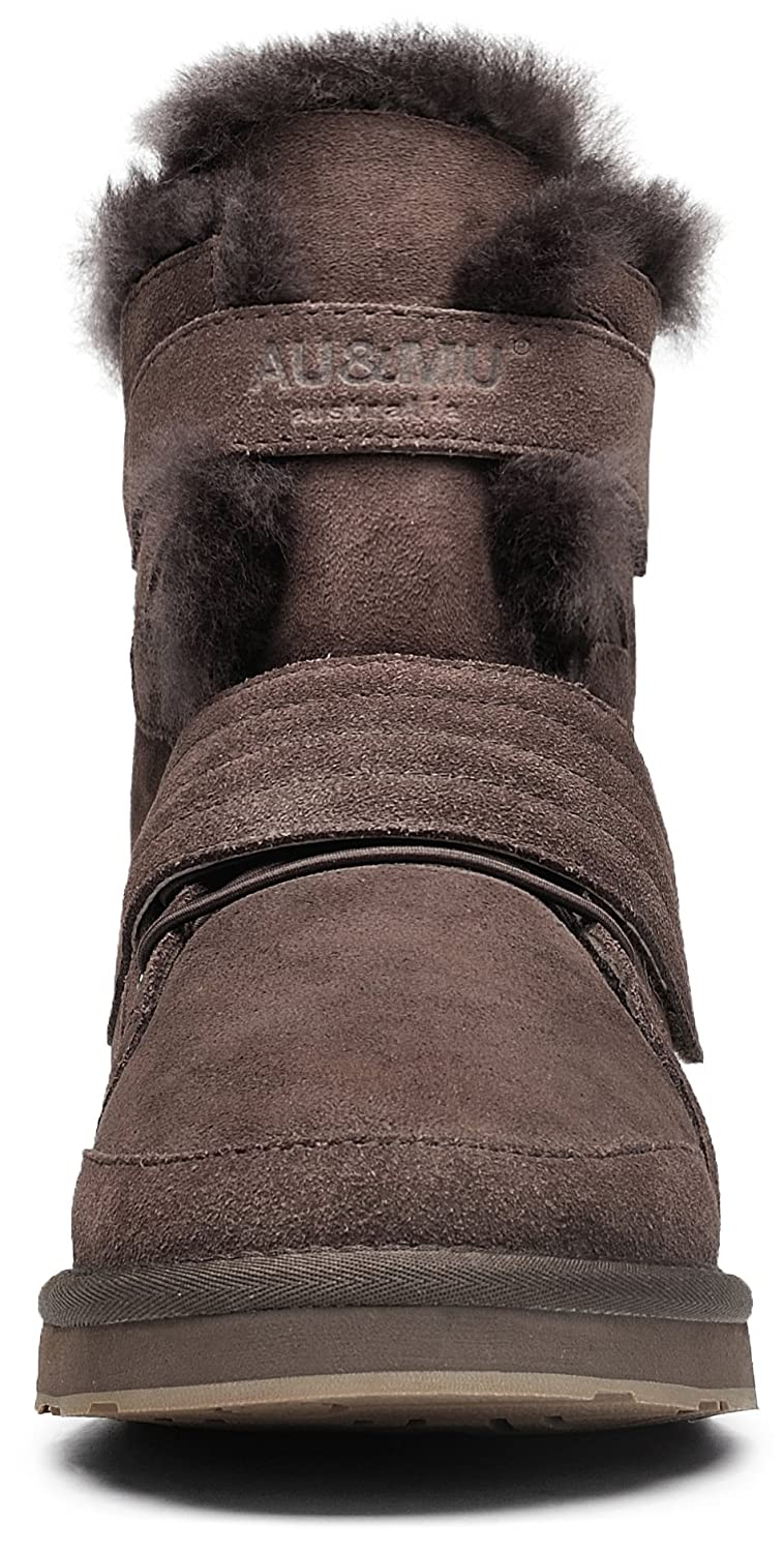 AU&MU Women's Full Fur Sheepskin Suede Winter Snow US|Chocolate Boots B073F2ZQYN 5 B(M) US|Chocolate Snow 3 debd6a