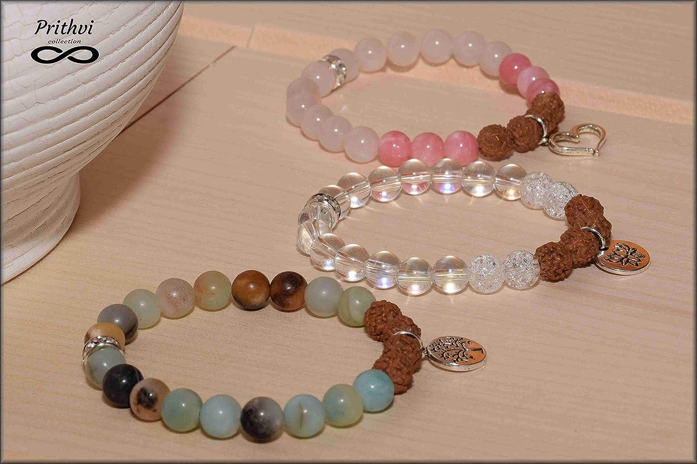 """Tres pulseras - YOGI - Jade (8mm), Amazonita (8mm), Rudraksha (8mm), cuarzo con """"efecto esmerilado"""" (8 mm), Cuarzo rosa (8 mm)"""