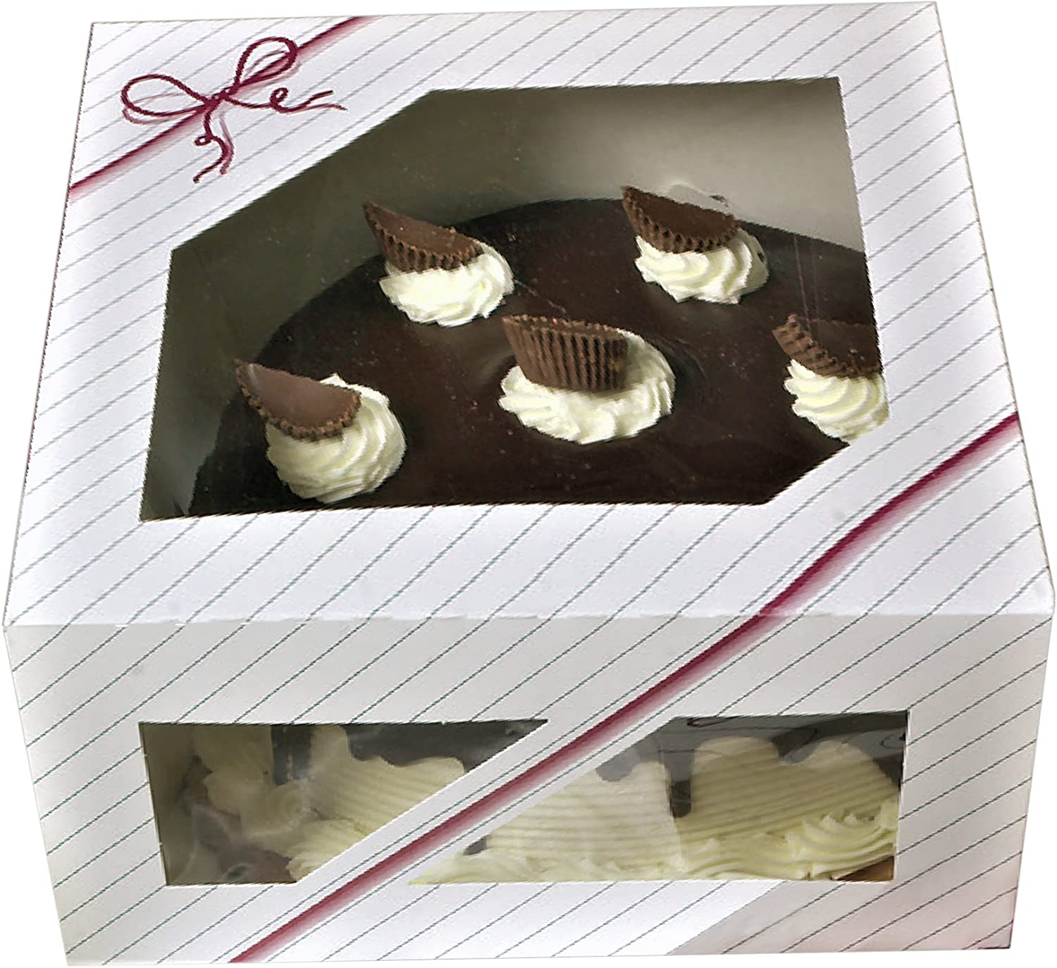 pink striped and string Graphic designed Window Cake Boxes 10 x 10 x 5-8 boxes Paperboard Auto Popup for round Cake and pie Bakery Boxes