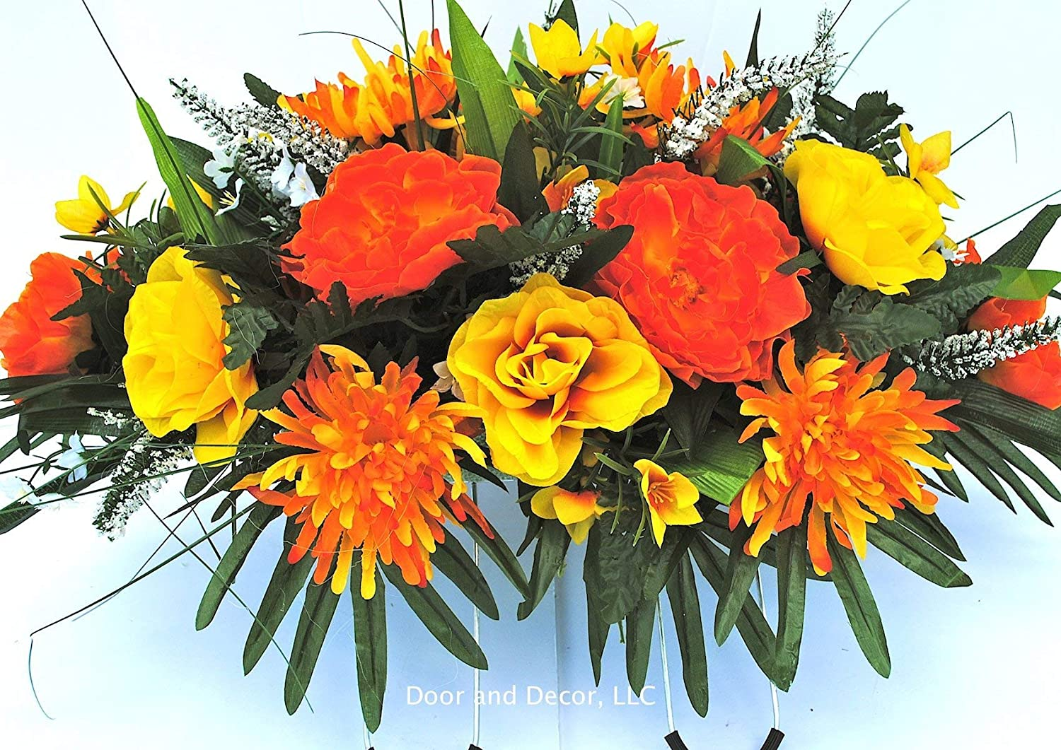 Amazon Fall Cemetery Headstone Flowers With Peonies Mums