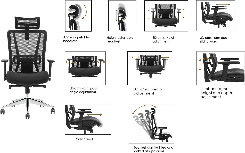 QUICK STAR Fauteuil de direction Fauteuil de bureau multifonctionnel DELUXE Noir, robuste avec support lombaire accoudoirs 3D