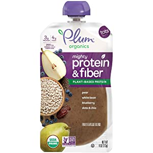 Plum Organics Mighty Protein & Fiber, Organic Toddler Food, Pear, White Bean, Blueberry, Date & Chia, 4 Ounce (Pack of 12) (Packaging May Vary)