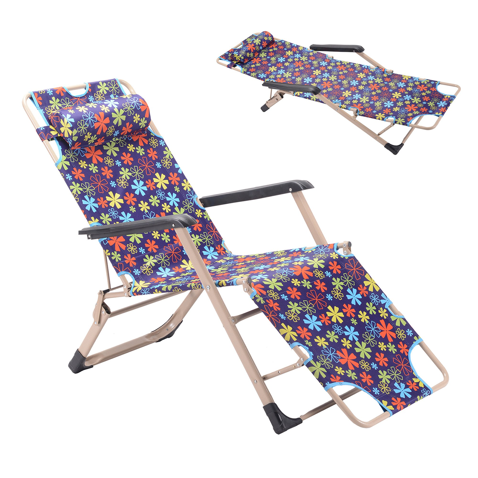 GOJOOASIS Folding Chaise Lounge Chair Recliner Bed & Cot for a Nap or Outdoor Use (Purple)