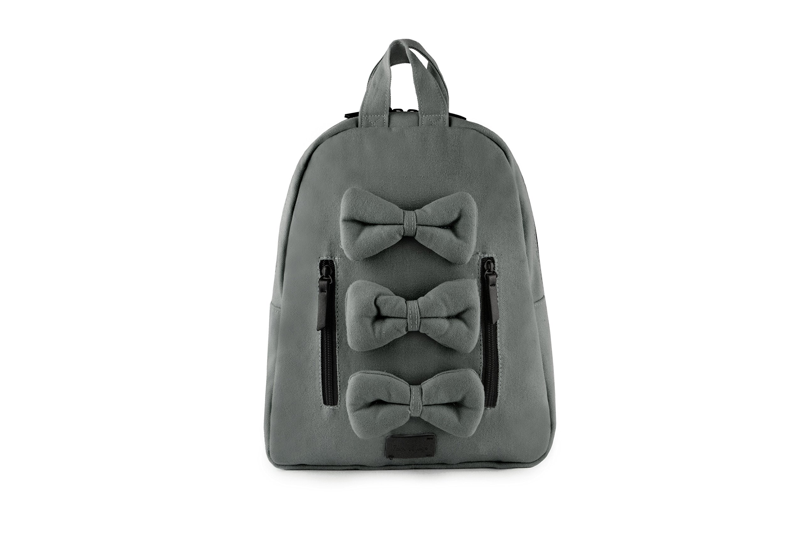 7AM Voyage Mini Bows Cotton Backpack, Toddlers, Kids and Teens School Backpack (Shadow)