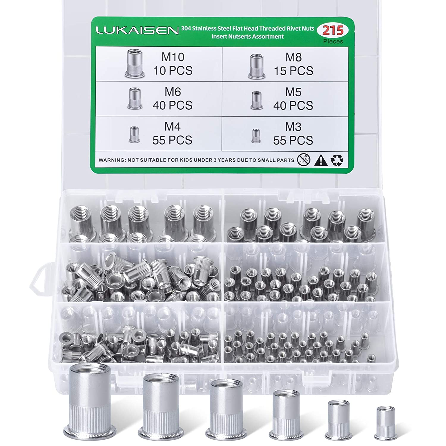 Rivet Nuts, 215PCS 304 Stainless Steel M3 M4 M5 M6 M8 M10 Rivnut Assortment Kit, Flat Head Threaded Insert Nutserts Assort for Automotive Furniture Decoration Electrical and Industrial Products