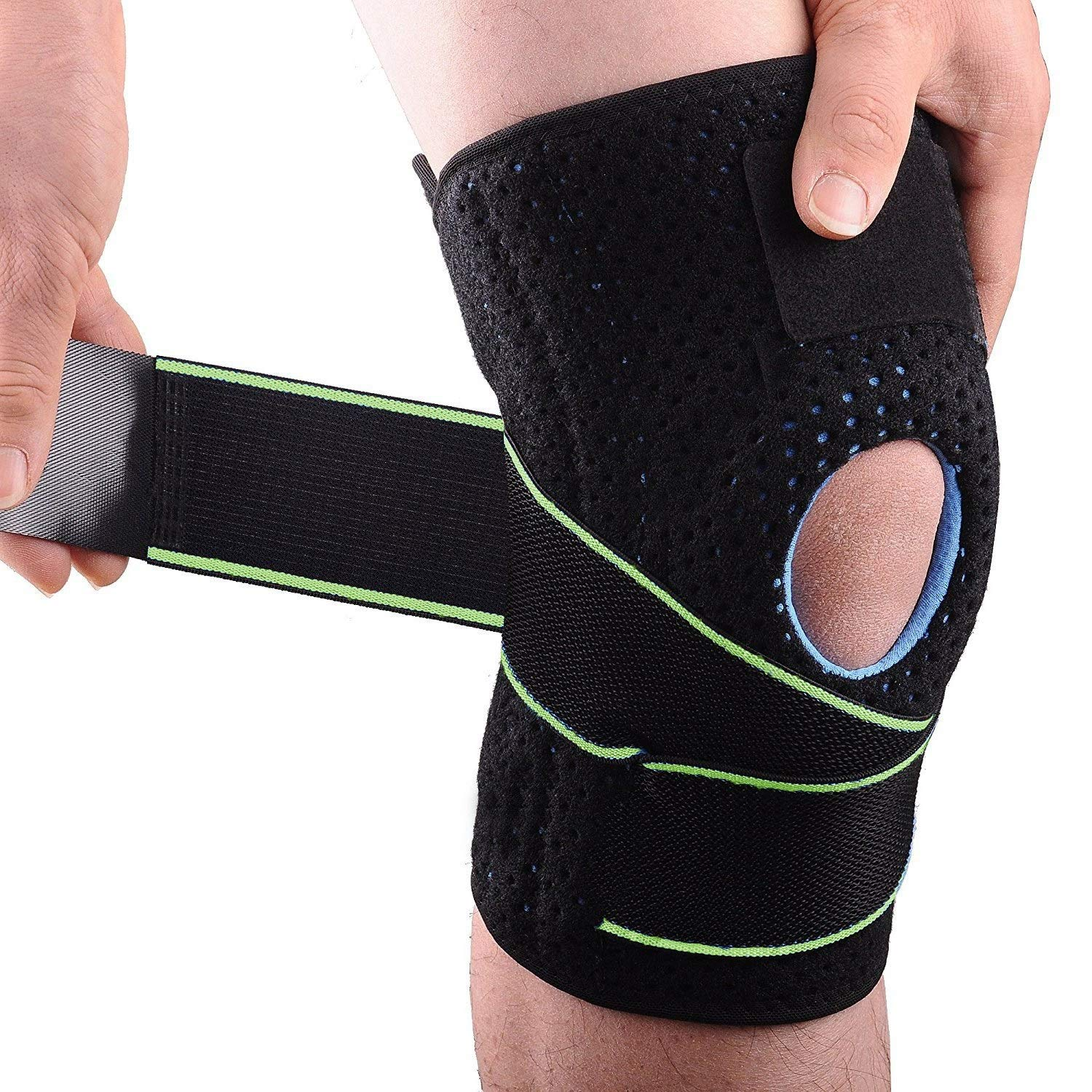 af4b74c49c Amazon.com: AlexBasic Knee Brace 1 PCS Knee Brace Support with Side  Stabilizers & Patella Gel Pads for Knee Pain, Meniscus Tear, Arthritis Pain  and Support, ...