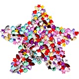 Blulu 600 Pieces Gems Rhinestones Craft Jewels Gemstone Embellishments with Flat Base, 5 to 12 mm, Assorted Shapes, Colors and Sizes