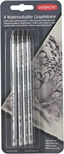 Derwent Watersoluble Graphitone Pencils, 4 Degrees of Hardness, Pack, 4 Count (34304)
