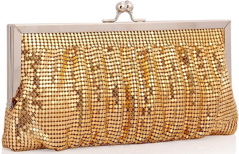 Bettyhome Womens Shine Sequins Metal Frame Handbag Evening Purse Wedding Party Clutch Gift