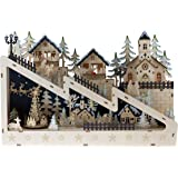 Christmas Village Ice Skating Rink.Amazon Com Clever Creations Traditional Winter Ice Skating Village