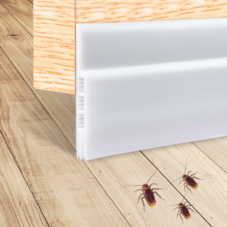 Door Draft Stopper, Under Door Insulator Door Sweep Weather Stripping Noise Stopper Prevent Bugs(White 2'' Width X 39'' Length)
