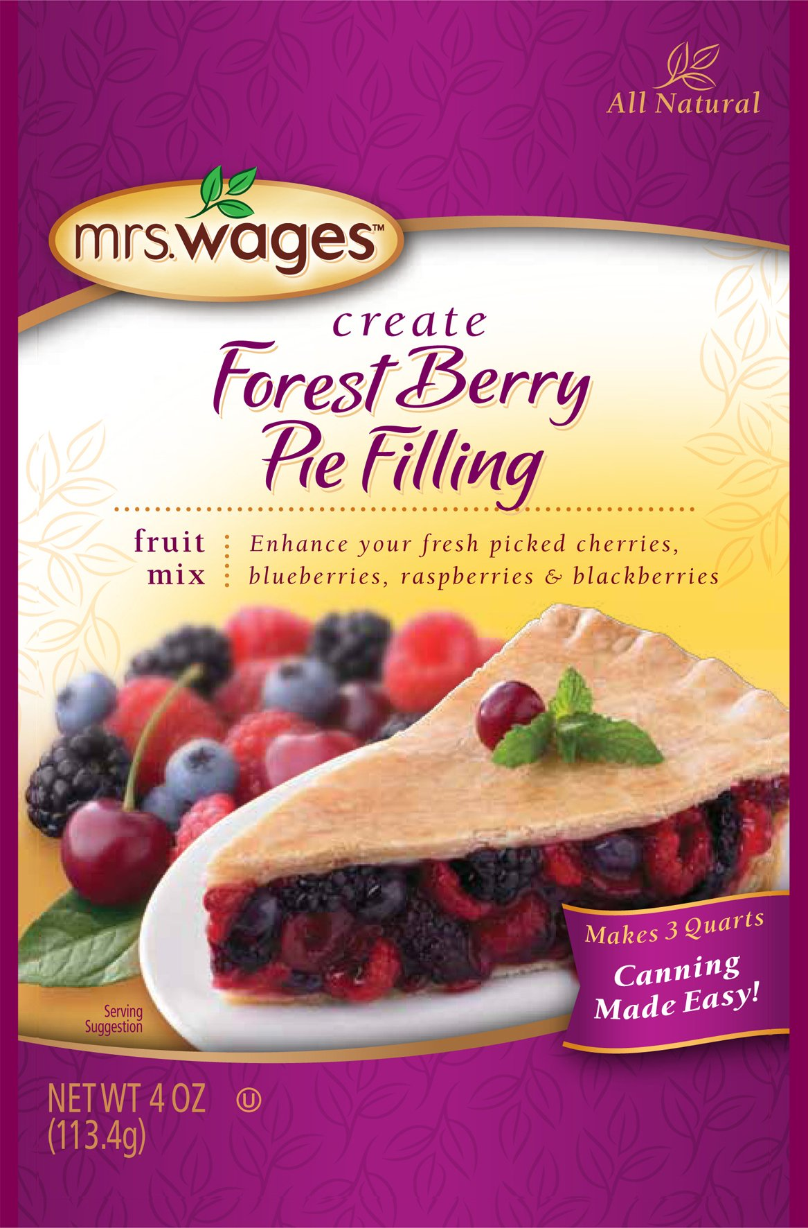 Mrs. Wages Create Forest Berry Pie Filling Fruit Mix, 4 Ounce (Pack of 12)