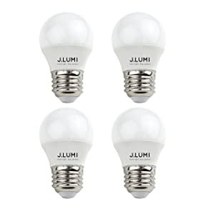 J.LUMI BPC45034 LED Light Bulbs A15 3W, Compact 45mm Dimeter, Appliance Light Bulb (Not for Ovens), Refrigerator Light Bulb, 25W Incandescent, E26 Base, 3000K Soft White, NOT Dimmable (Pack of 4)