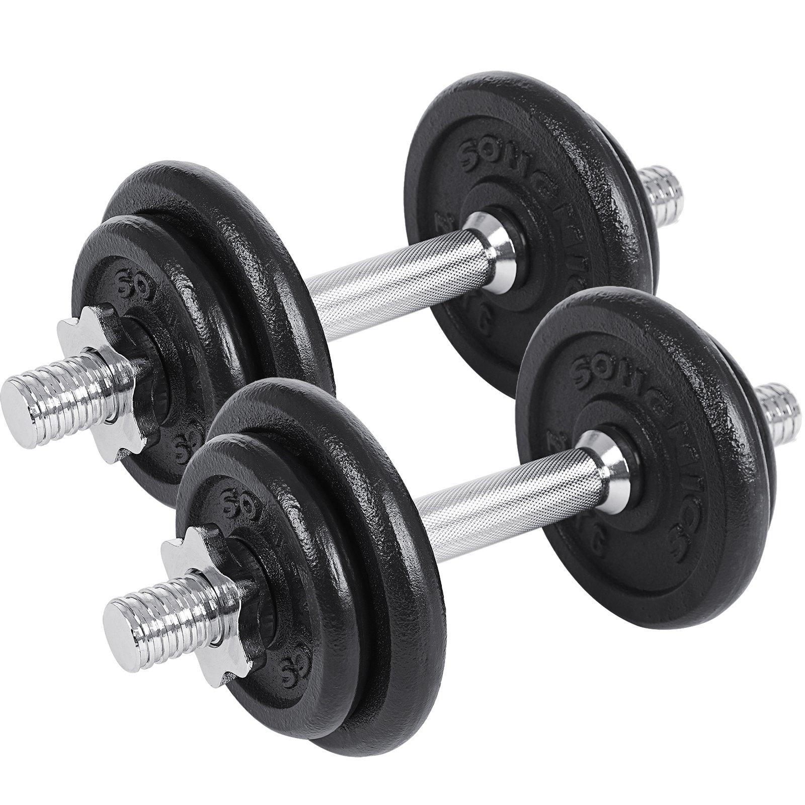 SONGMICS Juego de 2 Mancuernas de Fitness Pesas Hombres Discos de Hierro Fundido 20kg SYL20T product