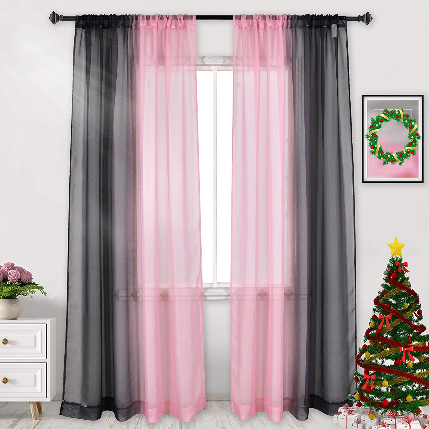 Black and Pink Curtains,Reversible Sunshine Sheer Curtains for Bedroom Girls Room Decor Rod Pocket 2 Tone Ombre Sheer Curtains for Basement Wedding Background 2 Panels 52X63