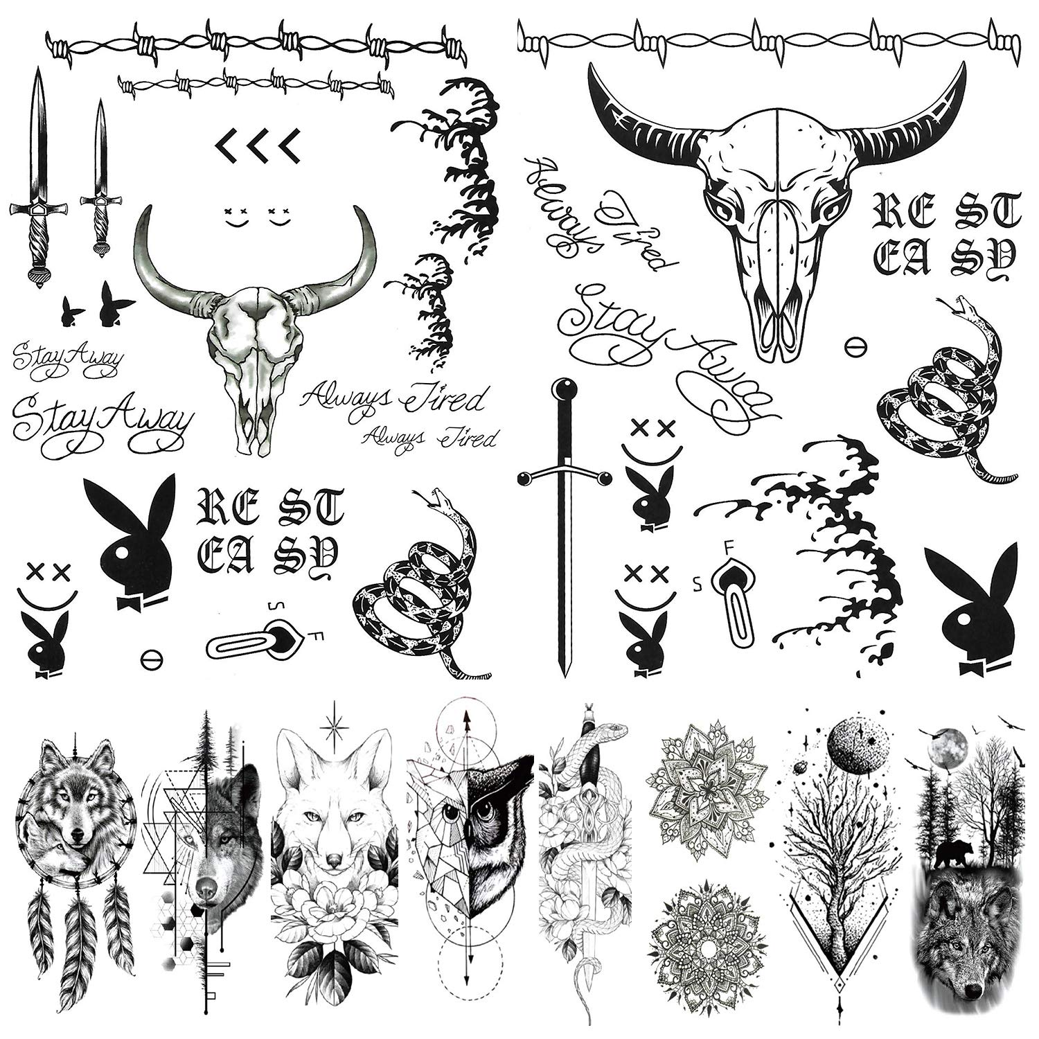 Amazon Com 12 Sheets Post Malone Face Tattoos Set Post Malone Tattoos Halloween Costume Accessories And Parties Temporary Tattoos For Women And Me Beauty