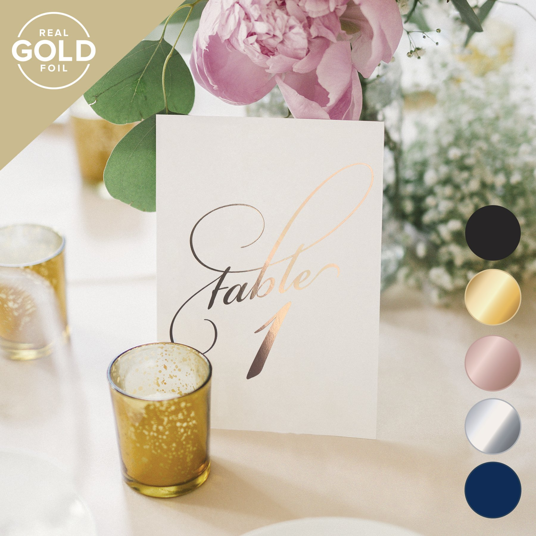 Rose Gold Wedding Table Numbers (Assorted Color Options Available), Double Sided 4x6 Calligraphy Design, Numbers 1-25 & Head Table Card Included — from Bliss Paper Boutique …