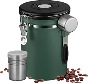 Airtight Coffee Canister, Large 22oz Coffee Bean Storage with Date Tracker and Scoop, Stainless Steel Food Storage Container for Coffee Beans, Grounds, Tea, Flour, Sugar, 1800ml Coffee Jar (Green)