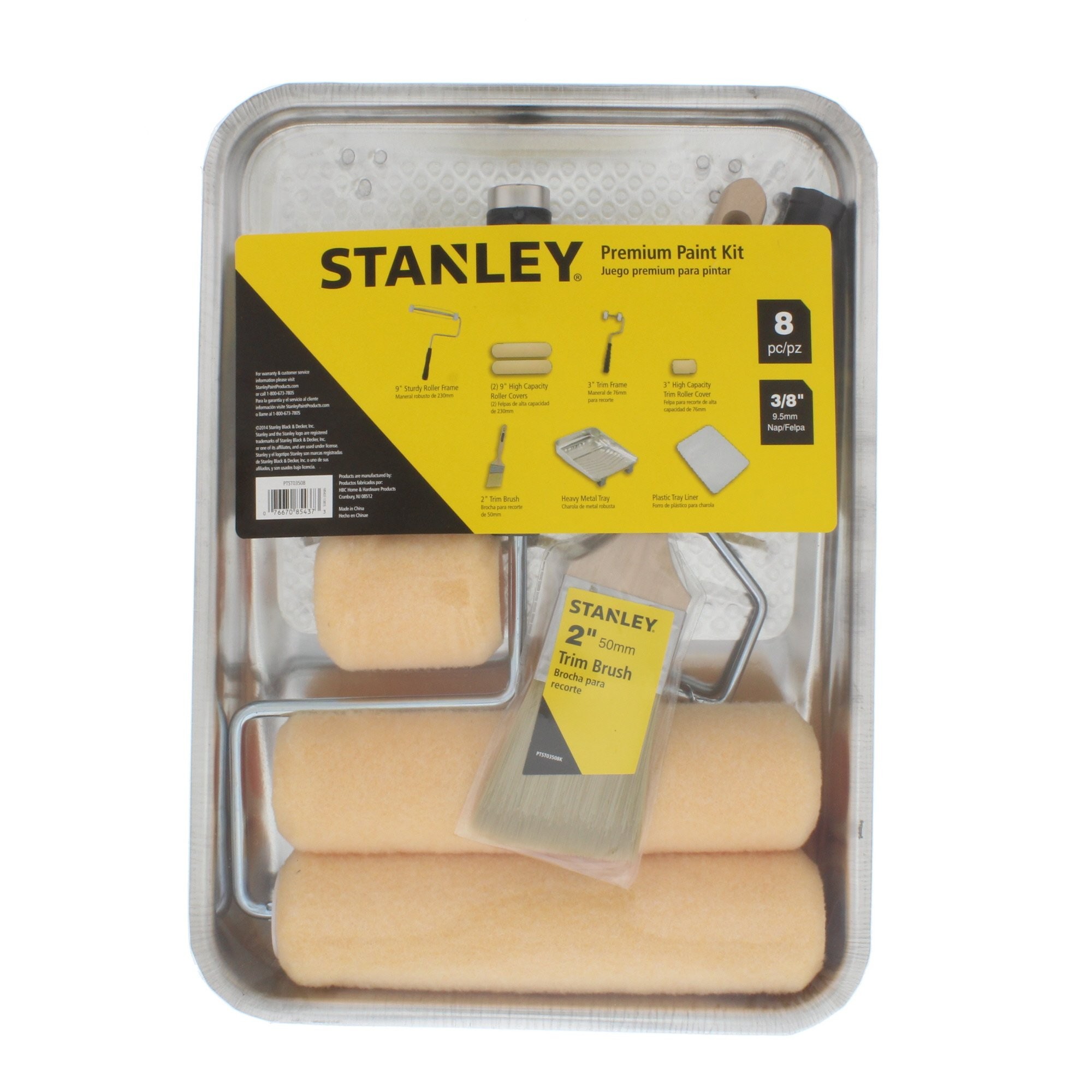 STANLEY Home Paint Kit Including Tray, Roller, Brush, and More - 8 Piece (PTST03508) by Stanley (Image #1)