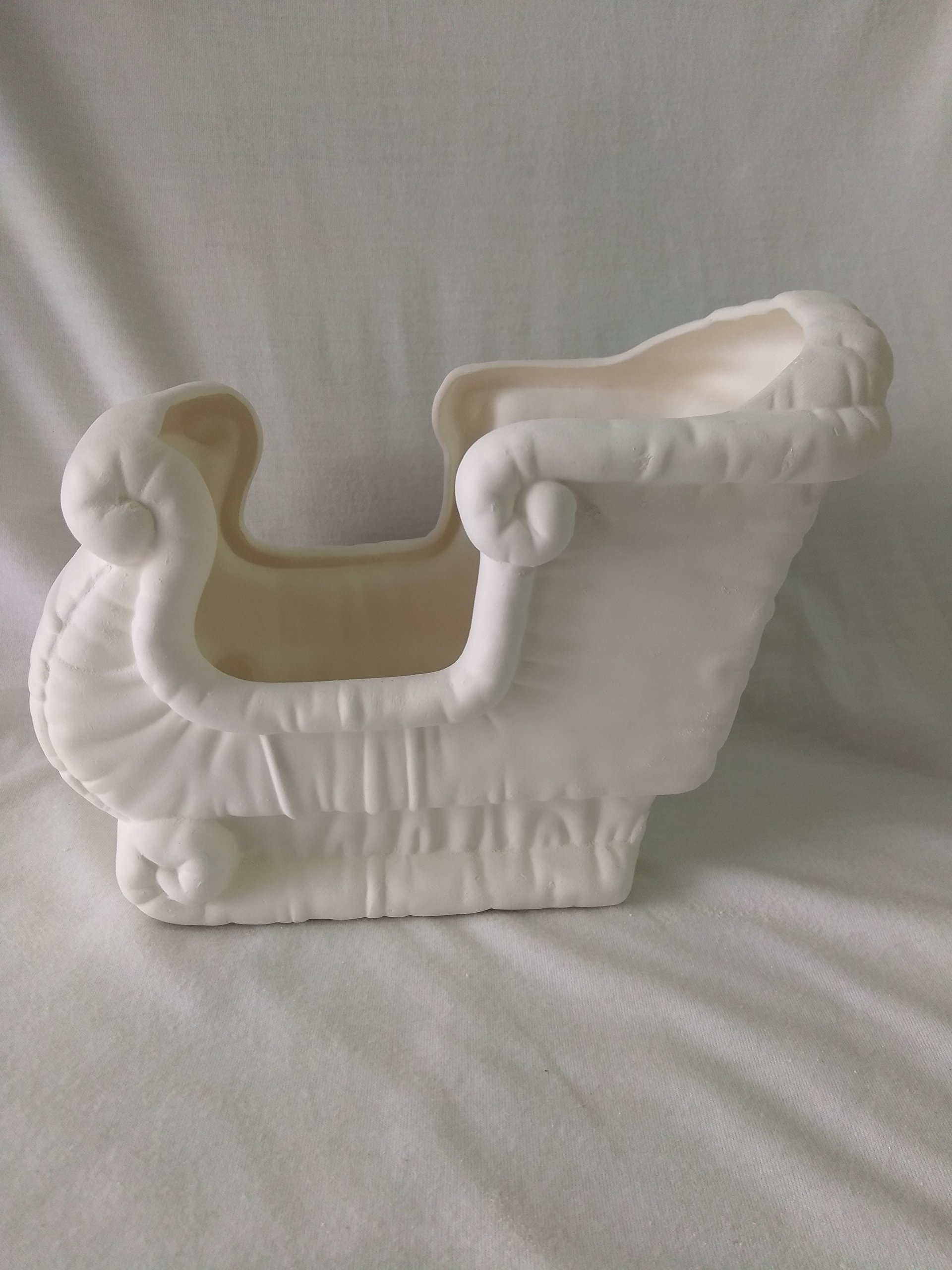 Large Sleigh and 4 Reindeer Set Ceramic Bisque, Ready to Paint