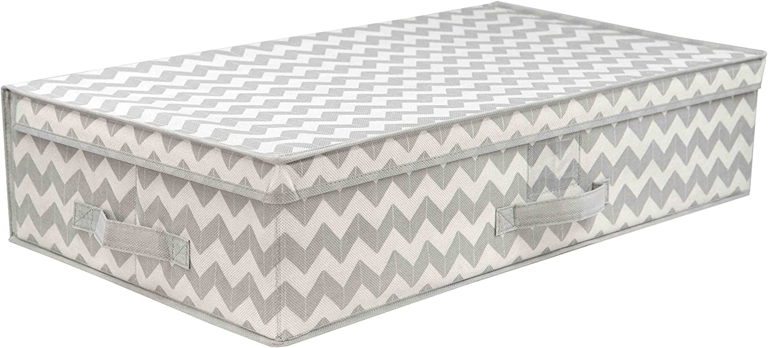 Home Basics Chevron Collection Under The Bed Storage and Organization, Bags, Bins, Boxes, with Handle for Comforter, Clothes, Blanket, Shoes, Sweaters, Grey