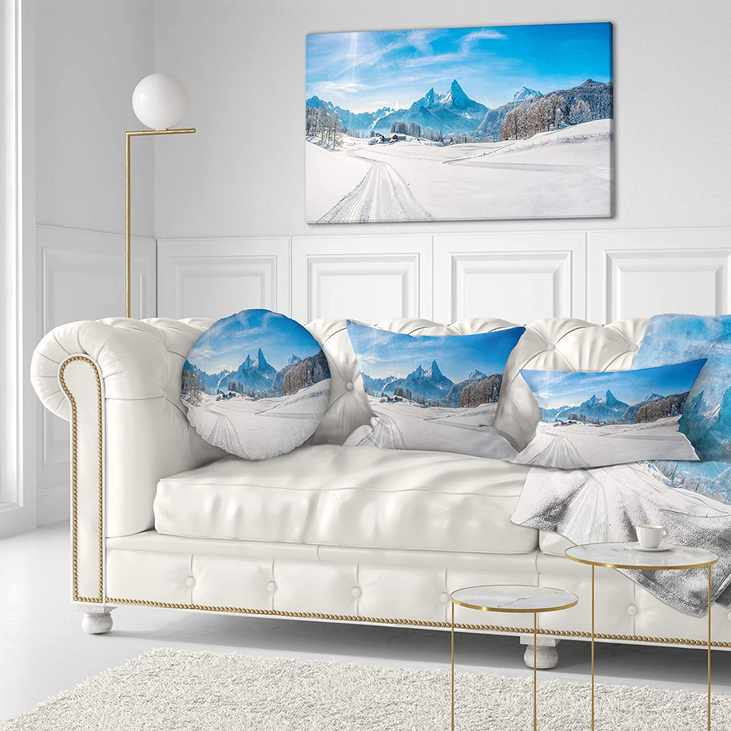 Sofa Throw Pillow 20 Insert Side Designart CU15320-20-20-C Winter in Bavarian Alps Panorama Landscape Printed Round Cushion Cover for Living Room