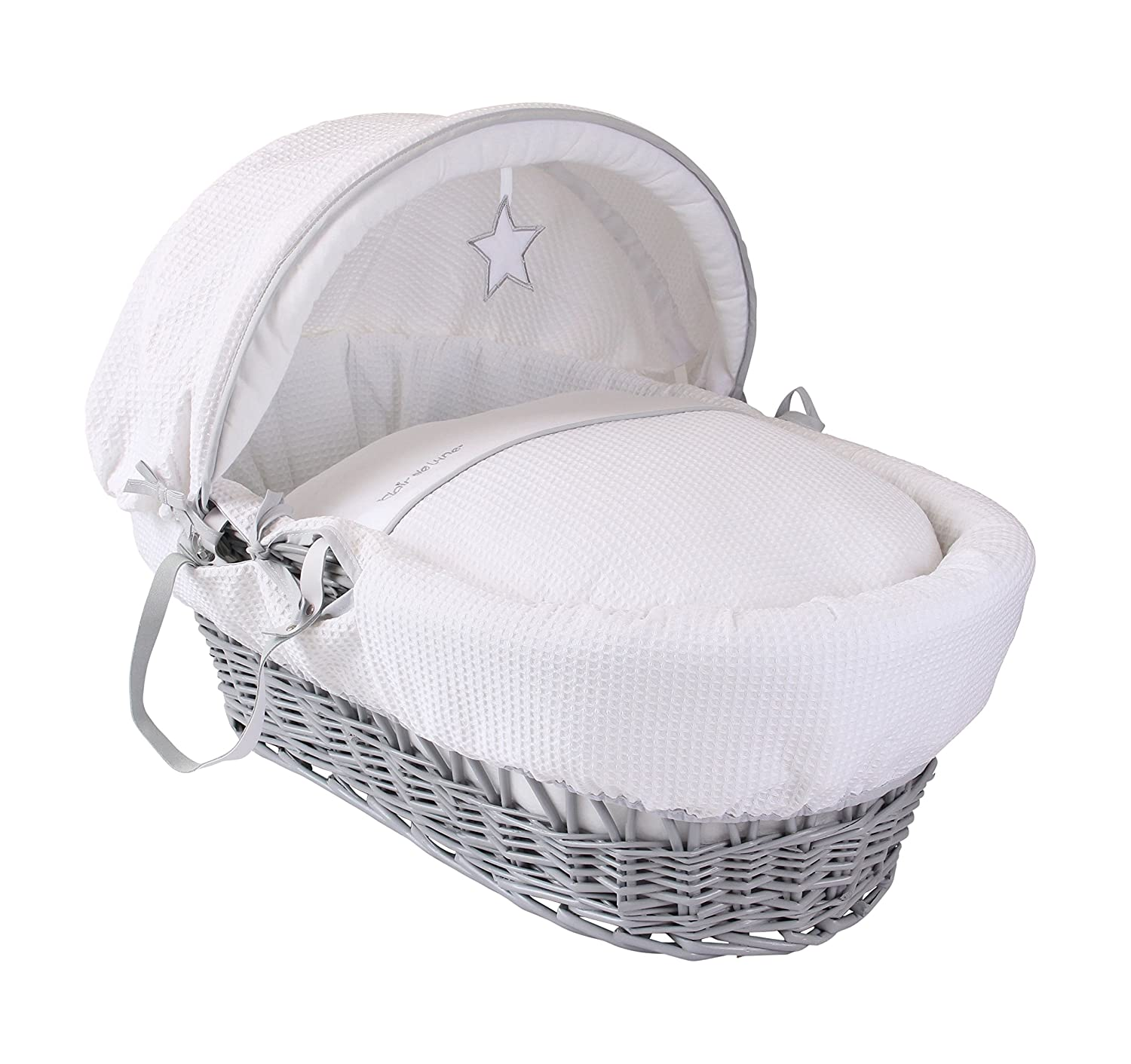 Clair de Lune Silver Lining Grey Wicker Moses Basket inc. bedding, mattress & adjustable hood (White) CL5419G